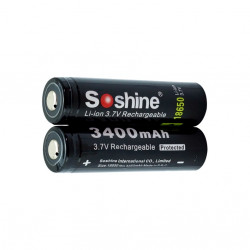 18650 Soshine 3400mAh Protected Li-Ion batteri 3,6V