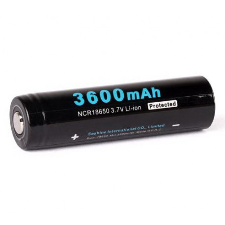 18650 Soshine Protected Li-Ion battery 3,7 3600